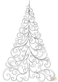 Swirly Christmas Tree Coloring Page In Printable Pages