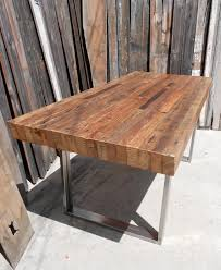 Lovable Outdoor Wood Dining Table Custom Indoor Exposed Edge Rustic Industrial Reclaimed