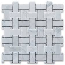 carrara white 1x2 basketweave mosaic tile w carrara white dots honed