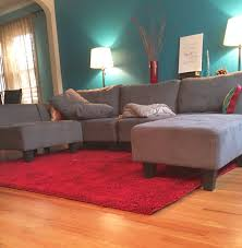 Teal Sofa Living Room Ideas by Living Room Idea Teal Blue Wall Grey Couch Ruby Red Rug