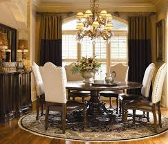 Formal And Elegant Dining Room Sets Decoration With Dark Round Pedestal