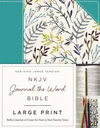 NKJV Journal The Word Bible Large Print Cloth Over Board Blue Floral Red Letter Edition Reflect Or Create Art Next To Your Favorite Verses