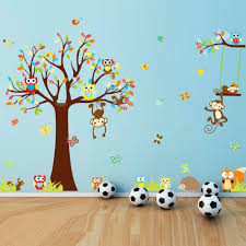 Fetching Home Interior Wall Decor With Jungle Tree Decals Handsome Kid Bedroom Decoration Using