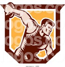 Logo Of A Retro Discus Thrower Man In An Orange And Brown Shield