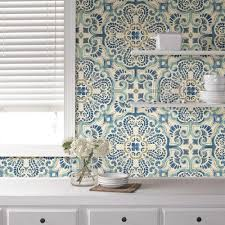 Absolutely Smart Peel And Stick Wall Paper With NuWallpaper Blue Florentine Tile Wallpaper Sample
