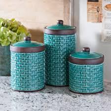 blue woven kitchen canisters set of 3 kirklands