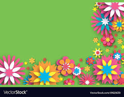 Colorful Floral Card Paper Cut Flowers Border Vector Image