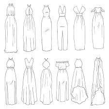 Maxi dresses vector art illustration
