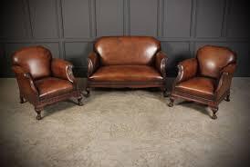 chippendale wohnzimmer set aus handgefärbtem leder mahagoni 1920er 3er set