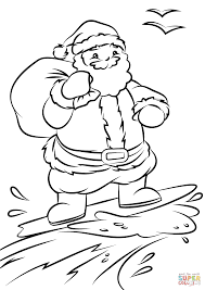 Click The Santa Surfing Coloring Pages