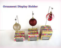 3 Hallmark Ornament Display Stand Keepsake Single Blown Glass Ball Wood