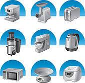 Kitchen Utensils And Items Appliances Icon Set