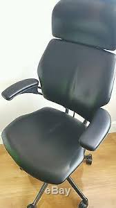 black leather humanscale freedom ergonomic office task chair with