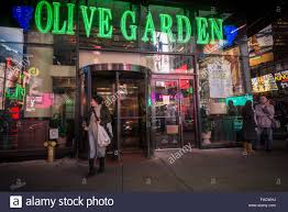 An Olive Garden restaurant in Times Square in New York is seen on