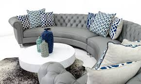 Grey Leather Sectional Living Room Ideas by Chesterfield Circle Sectional In Grey Leather Chesterfield Gray