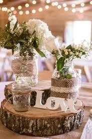 Mint Burlap Lace Wood Wedding Centerpiece For Rustic Barn