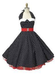 50s Style Classic Dame Black Polka Dot Halter Dress Blue Velvet Vintage