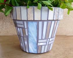 Indoor Planter Mosaic Flower Pot Outdoor Patio Rustic Kitchen Herb Glass