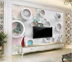 Circle Jewelry Flower Butterfly Wall Mural Photo Wallpaper Painting For Bedroom Decor Papel De Parede 3d Small Size Sample High Resolution Wallpapers