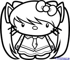 Coloring Pages Hello Kitty Mermaid Free Pictures To Print How Draw Step Birthday