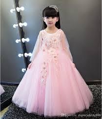 Lovely Pink Tulle Jewel Applique Flower Girl Dresses Princess