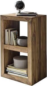 finebuy standregal massivholz sheesham 88 cm hoch 2 böden design holz regal naturprodukt beistelltisch landhaus stil dunkel braun wohnzimmer möbel