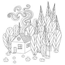 Download Coloring Pages For Adults And Children Book Cartoon House In The Forest Stock