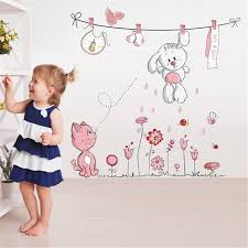 Cute Hang Clothes Rabbit Cat Removable Mural Kindergarten Nursery Kids Baby Child Bedroom Decor Self Adhesive