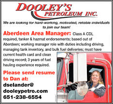Aberdeen Area Manager, Dooley's Petroleum Inc, Aberdeen, SD