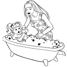 Dancing Barbie Coloring Page Bathing Her Sister In Bath Tub