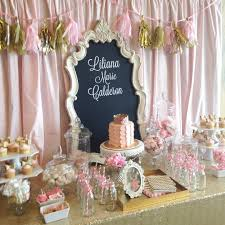 Pink White And Gold Birthday Decorations by Pink And Gold Baby Shower Dessert Table Candy Buffet