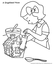 Making A Christmas Party Gingerbread House Coloring Page