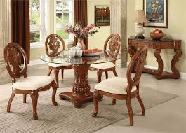 Dining Room Chairs For Glass Table by Simple White Round Dining Table 4 Legs Glass With Leather Chairs