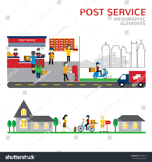 Post fice Service Infographic fice Workers Stock Vector