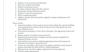 Resume For A Receptionist Job Description Doctor Office
