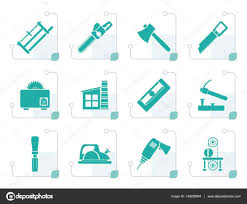 Vector Lumberjack Timber Woodworking Tools Icons Stock Icon Set Black Color Carpentry