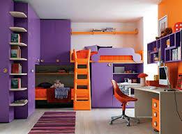 Kids Bedroom Modern Interior Design Alongside Purple Wall Cabinet And Double Orange Loft Bed