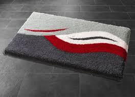 badgarnitur mit latexbeschichteter rutschhemmender tpr rückseite größe 100 vorleger halbrund 50 80 cm grau rot