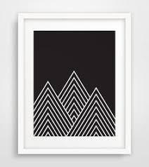 Black Mountains Geometric Dark Print Fall Decor DIY Prints Do It Yourself Art Printable Mountain