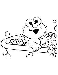 Elmo Bubble Bath Coloring Pages For Kids Printable