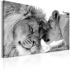 decomonkey bilder wandbilder löwe afrika löwenpaar 120x80 cm 1 teilig leinwandbilder bild auf leinwand wandbild wand wohnzimmer wanddekoration deko