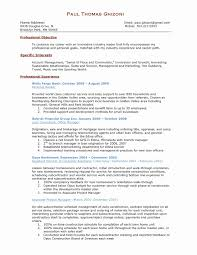 Construction Manager Resume New Project Management Samples Fresh Inspirational Tutor