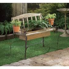 Rustic Iron Wood Bench FLOWER POT PLANTER Box Outdoor Garden Patio Home Decor