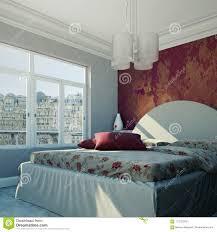 modernes schlafzimmer mit roter wand und moderner dekor