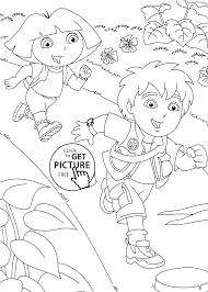 Diego With Dora Coloring Pages For Kids Printable Free