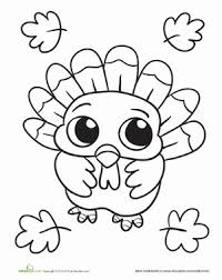 Kindergarten Holidays Seasons Worksheets Baby Turkey Coloring Page