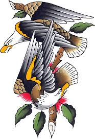 Sailor Jerry Style Two Perched Eagles Tattoo Design By Jimtattooer