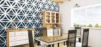 Dining Room With Black And White Pattern Mural