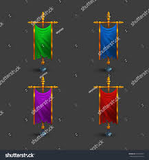 Flagpole Christmas Tree Plans by Set Icons Multicolored Medieval Vertical Flag Stock Vector