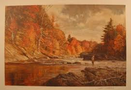 Fishing Print Fall Depicting A Fisherman In River The